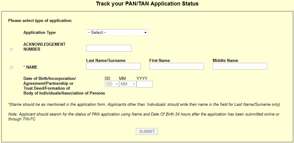 Track your PAN-TAN Application Status